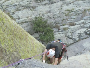 Rowan on McCarthy West Face, Hong Variation